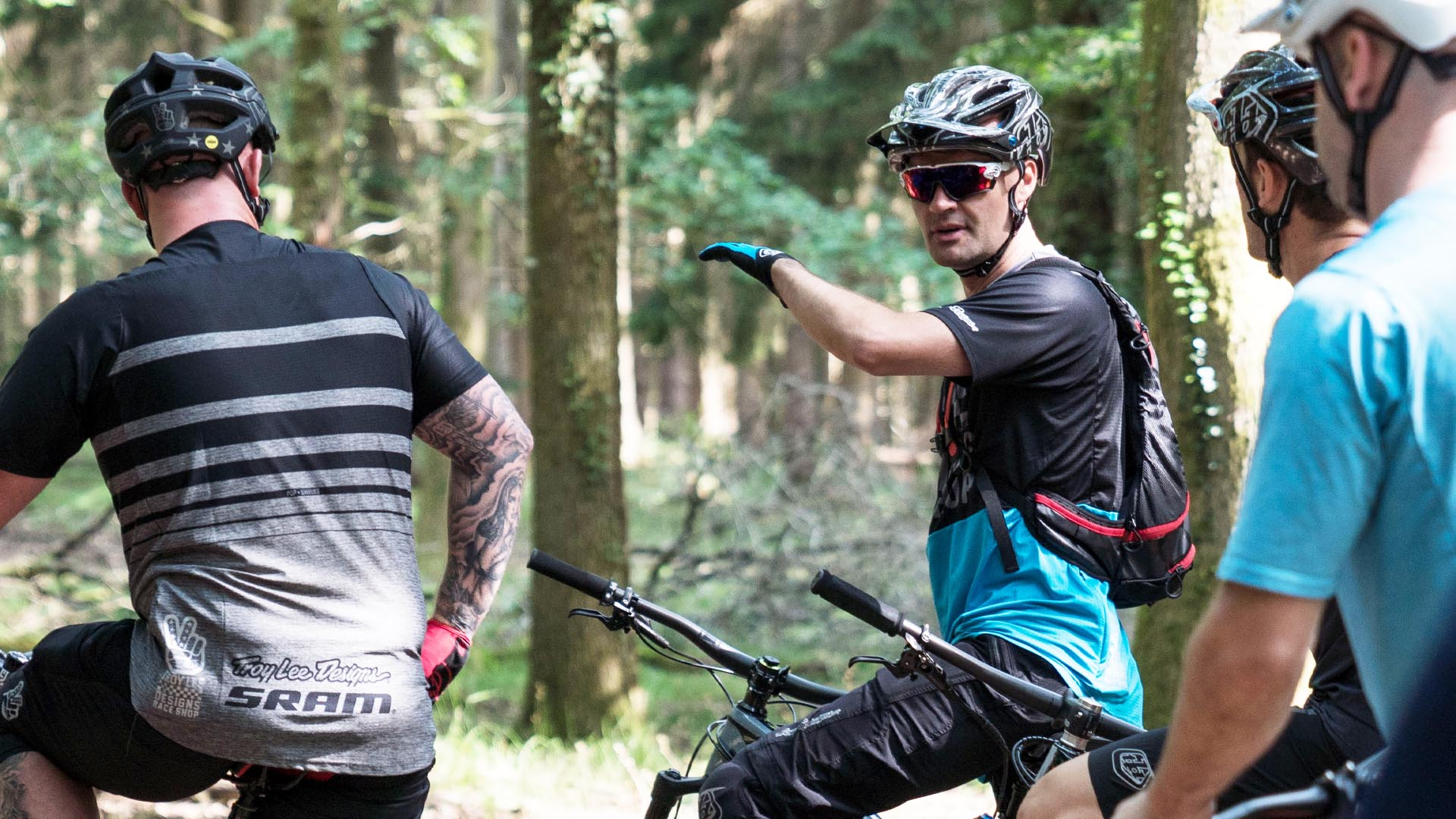 +3 Coach Alan Milway talking riders through body weight positioning during an event in the Forest of Dean