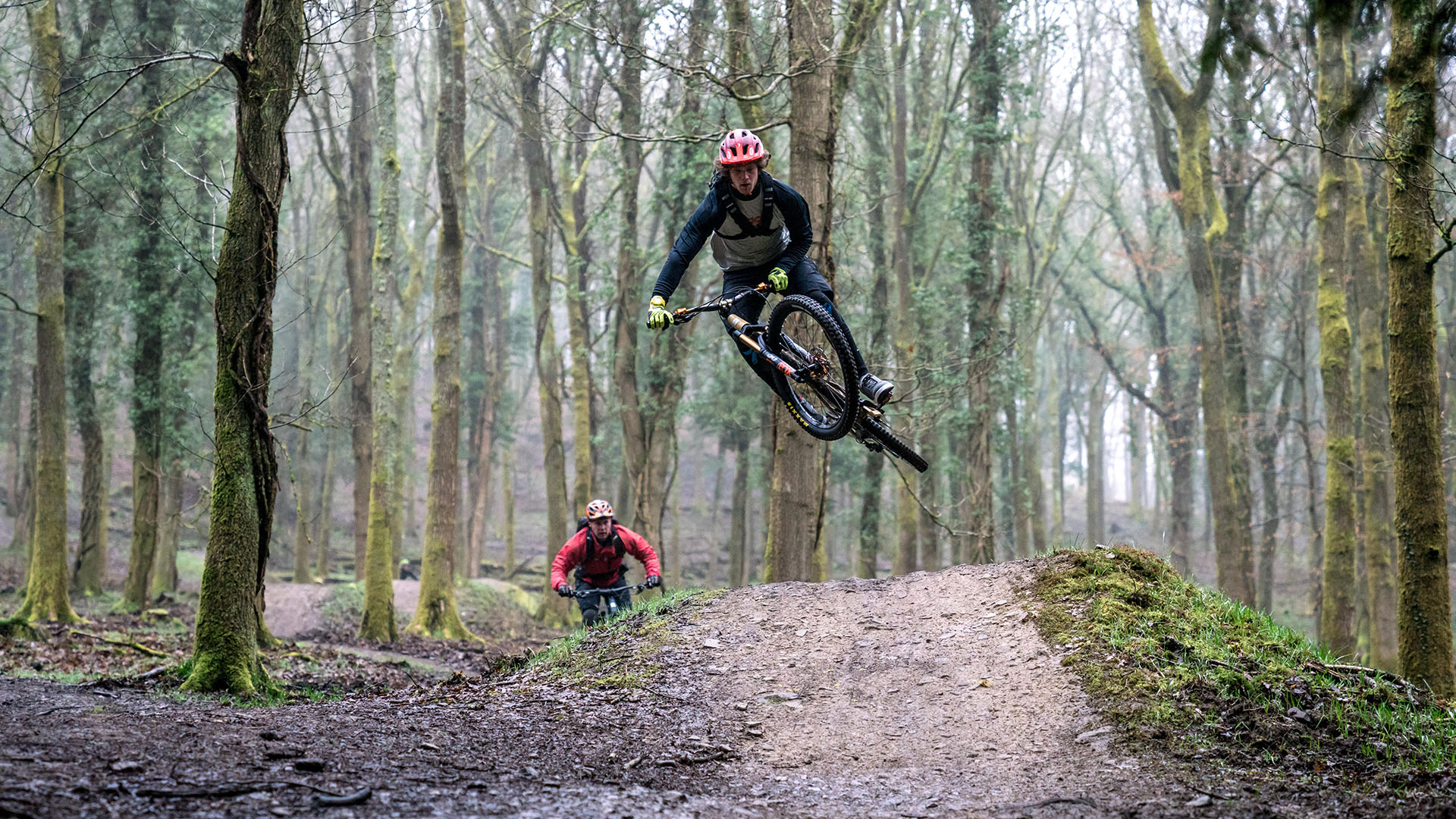 +3 MTB coach Jay Williamson getting booking some air miles during an event in the Forest of Dean