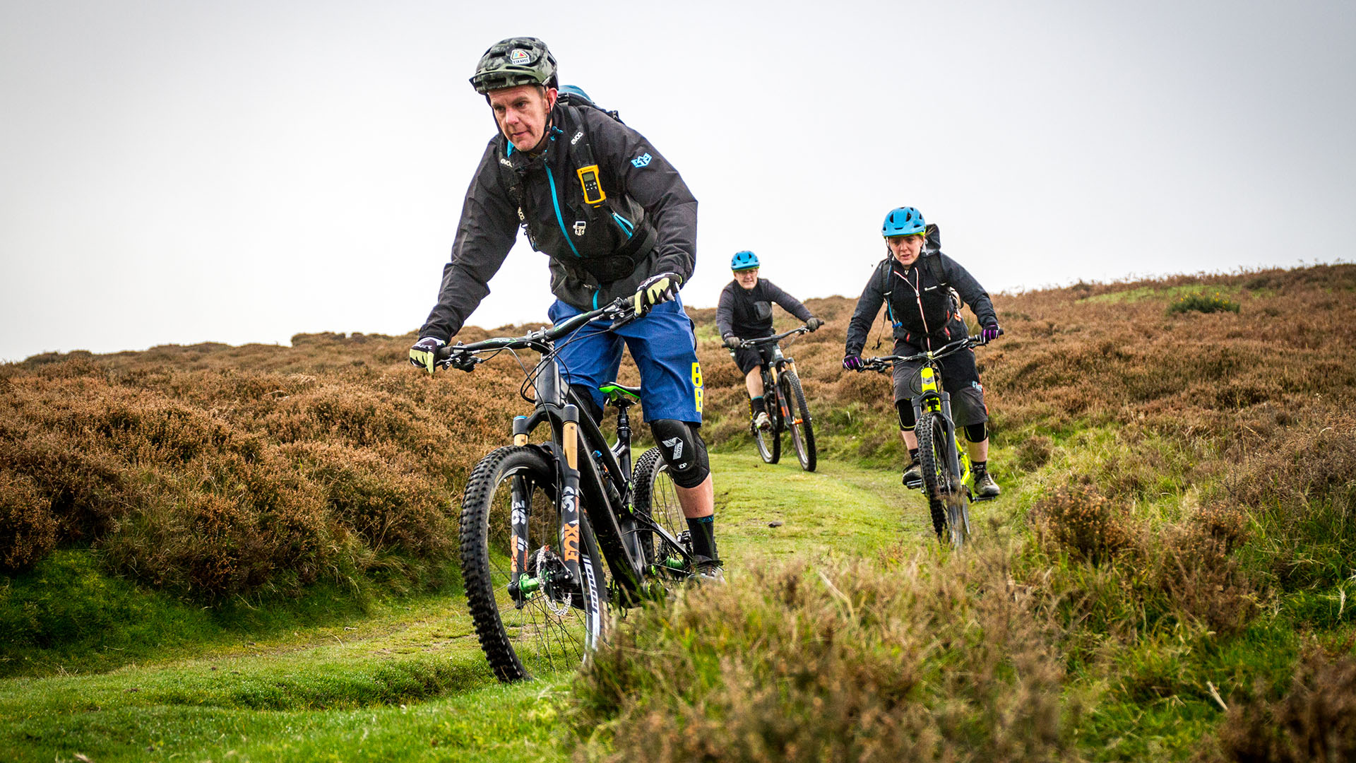 +3 MTB Coach Sandy Plenty leads a group to some great natural trails during a coaching day on the Long Mynd in Shropshire