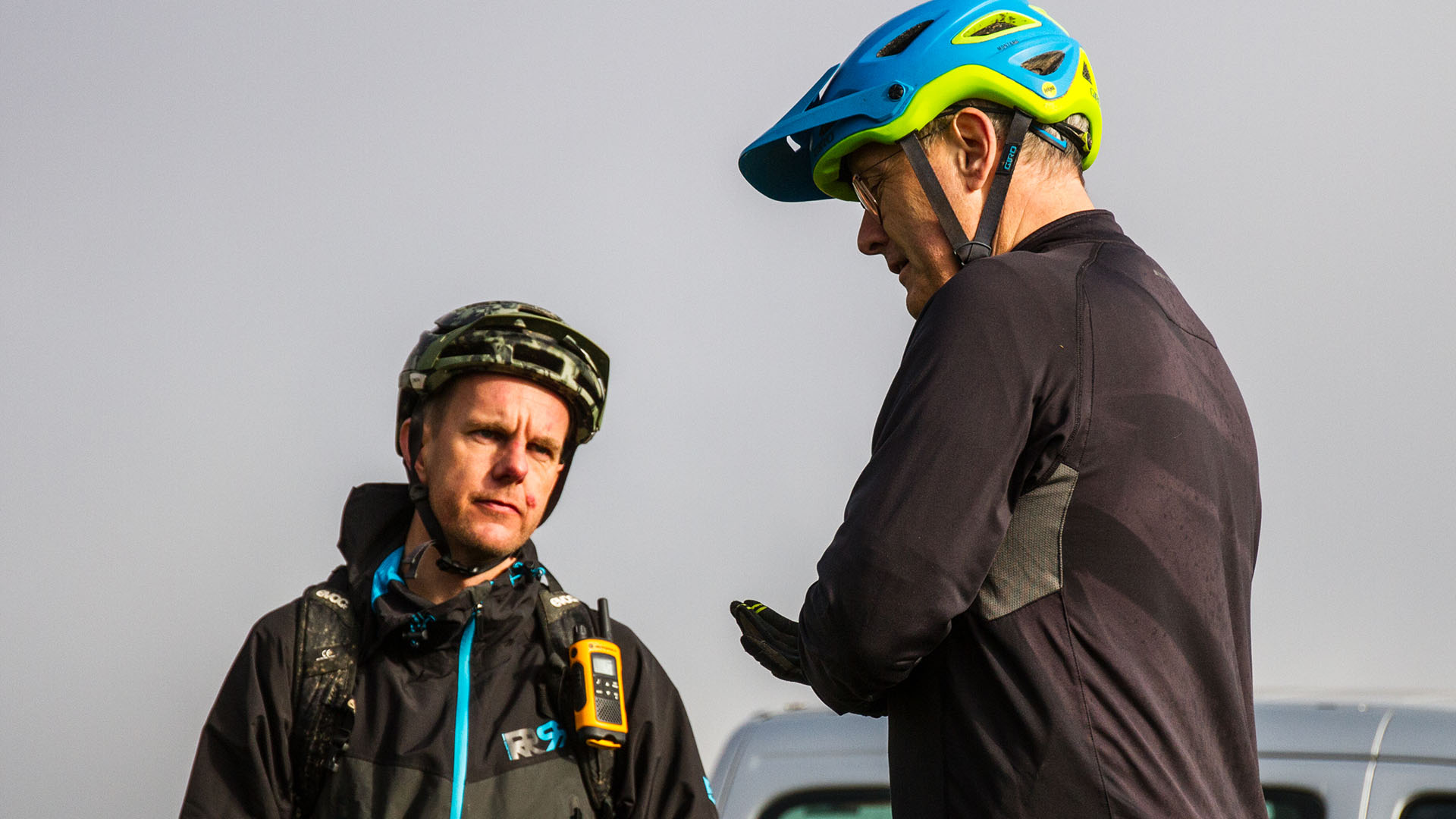 +3 MTB Coach Sandy Plenty talks setup with a rider during one of our events on the Long Mynd in Shropshire
