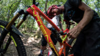 +3 MTB Suspension Tech Will Soffe adding a few pounds of pressure to an Intense Tracer in the Forest of Dean